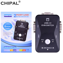 Chipal Kualitas Tinggi 2 Port USB 2.0 KVM Switch Switcher 1920*1440 VGA SVGA Switch Splitter Kotak untuk Keyboard mouse Monitor Adaptor(China)