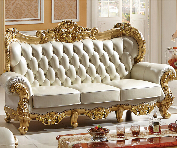 Carved Solid Wood And Italian Leather Sofa Sets 9808