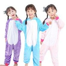 Купить с кэшбэком Cosplay winter girl boy child pajamas baby onesies kids pajamas set animal cartoon pajamas pin panda pink unicorn hooded