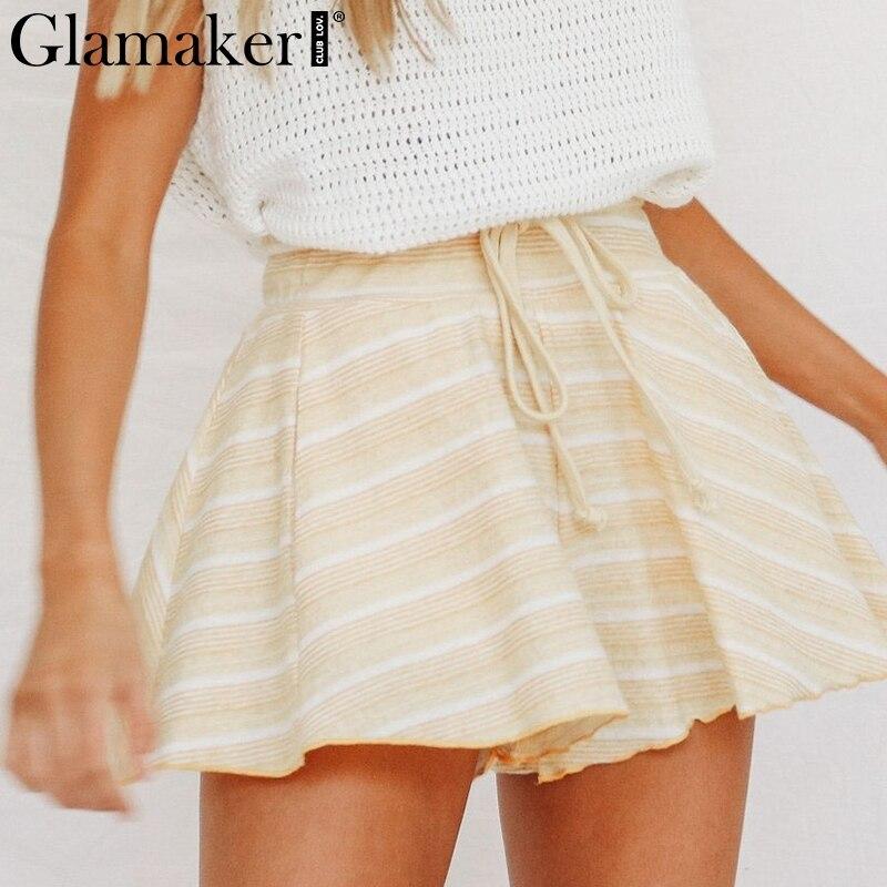 Glamaker Striped blue lace up casual   shorts   women High waist summer bottom Female loose beach holiday spring   short   elastic waist