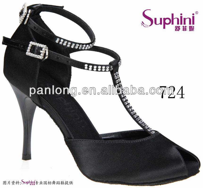 цена на Suphini Top Selling Black Dance Shoe, Classic Lady Salsa Shoes, Woman Tango Latin Shoes,Free Shipping 724