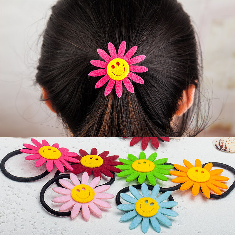 LNRRABC New 1PC 7 Colors Girl Child Lovely Sunflower Hairpin Artificial Flowers Kids Seamless Hair Rope Women Hair Accessories