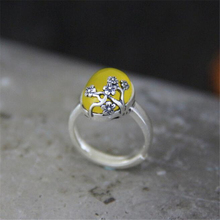 100% 999 Sterling Silver Vintage Court Carving Hollow Flower Party Finger Rings With Yellow Natural Stone for Women Jewelry