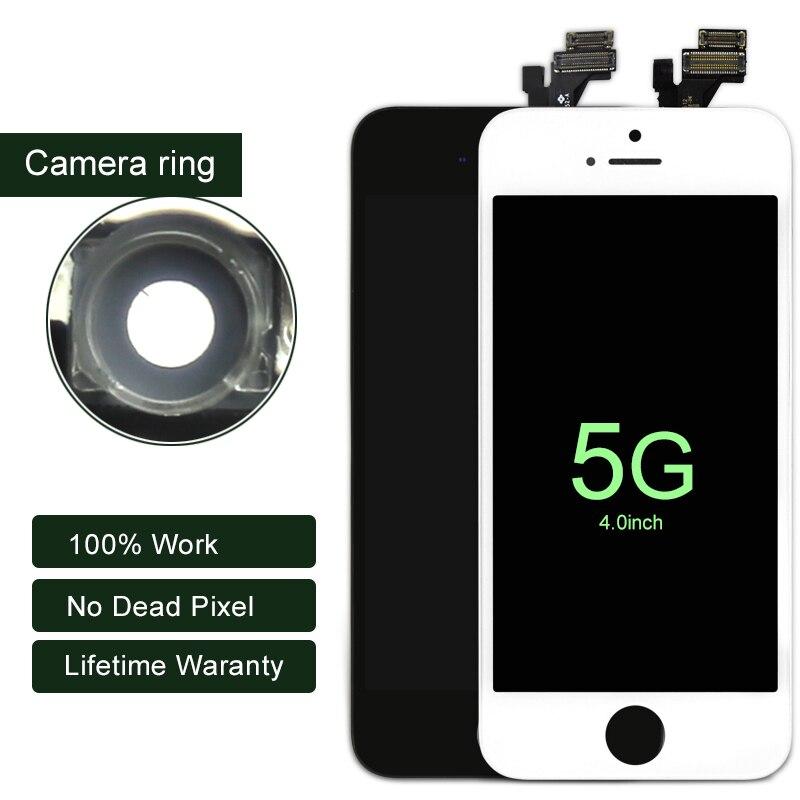 10 pcs/lot LCD Pour iphone 5 5g Affichage Avec Écran Tactile Assemblée Digitier Avec Caméra Anneau Pour iphone LCD écran de Remplacement