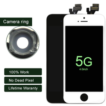10PCS AAA LCD For iphone 5 5G Display With Touch Screen Digitier Assembly With Camera Ring For iphone LCD Screen Replacement