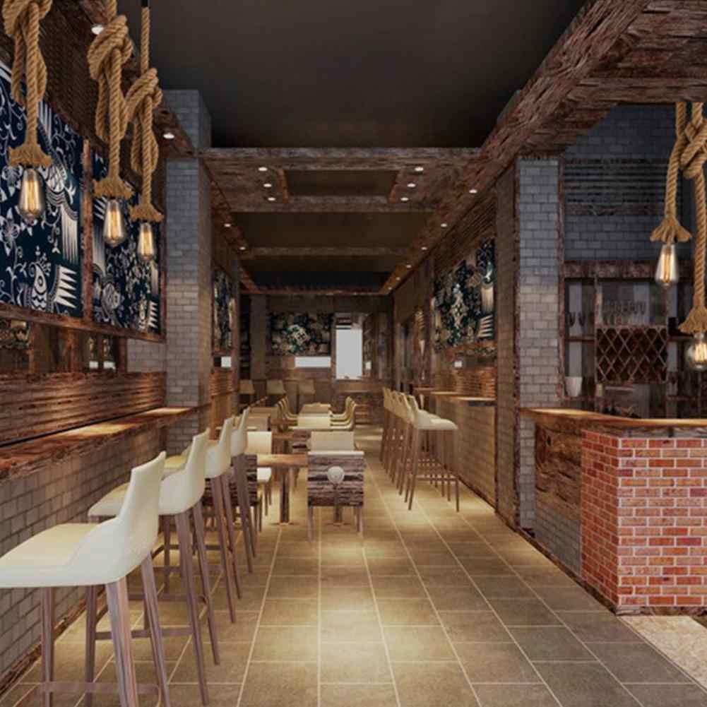 Vintage حبل القنب قلادة ضوء E27 Loft الإبداعية شخصية مصباح صناعي على شكل قلادة لمطعم تركيبات إضاءة القهوة ديكور