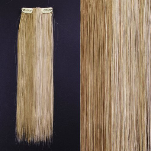 8 18 #27/613 Blonde Highlights Straight Full Head Synthetic Hair Extensions ...