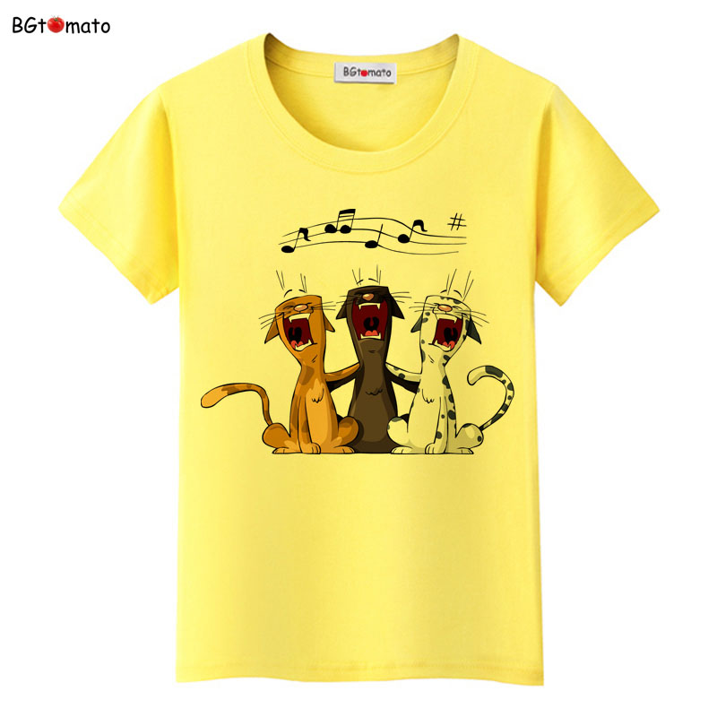 BGtomato lovely pets black cats cartoon   t     shirts   woman's super fashion new   shirts   Brand good quality soft casual tops