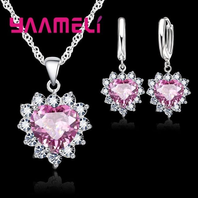 YAAMELI Heart-Shaped Cubic Zirconia 925 Sterling Silver Jewelry Set