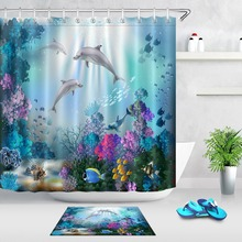 LB Underwater World Dolphins Fish Coral Shower Curtain Liner And Mat Set Nature Bathroom Waterproof Fabric