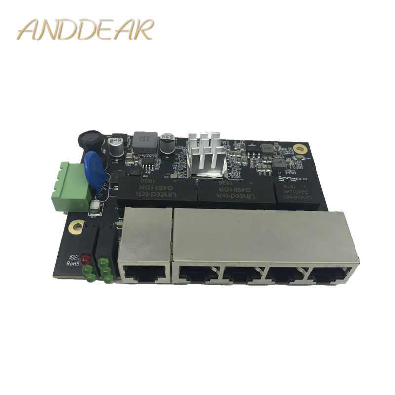 Image 2 - Ethernet Switch Module 5 Ports Unmanaged10/100/1000mbps Industrial PCBA board OEM Auto sensing Ports PCBA board OEM Motherboard-in Network Switches from Computer & Office