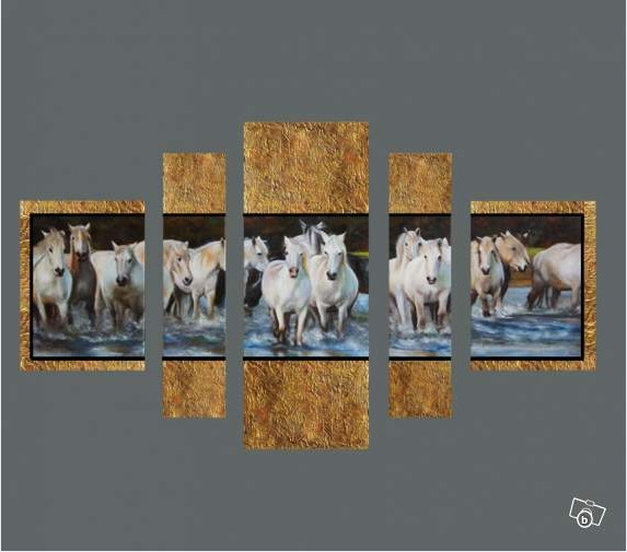 Framed 5 Panel Amazing High End Large Horse Artwork Oil Painting 5 ...