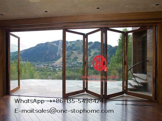 NEW Design Sliding Bifold Glass Doors Interior Folding Doors,Room Dividers Soundproof Insulated Glass Aluminium Bi-Folding Doors