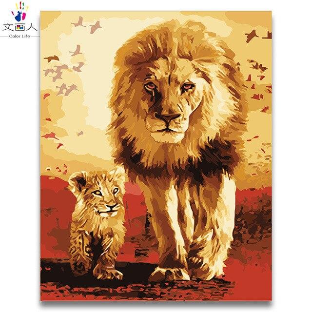 838 45 De Descuentocolorear Por Números De Leones Africanos Y Cuadros Dibujo Por Números Animales Con Juegos En Lienzo Para Niños 40x50