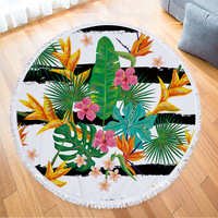 Printed Tropical Leaves Flower Flamingo Toalla Beach Towel Round Microfiber Beach Towels Roundie For Adults Serviette De Plage