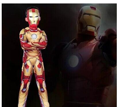 Traje de fantasia do Homem de Ferro, traje de halloween de super herói, fantasia do homem de ferro, Mark 42/Patriot, com músculos, para crianças, para cosplay, traje com máscara