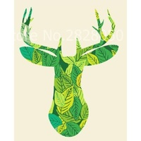 Green Leaves Deer Creative New Frameless Wall Art Pictures Painting By Numbers DIY Oil Painting On