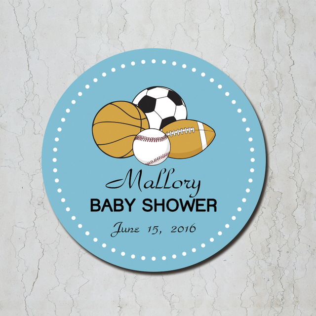 Sports Theme Baby Shower Favor Stickers Baby Shower Personalized