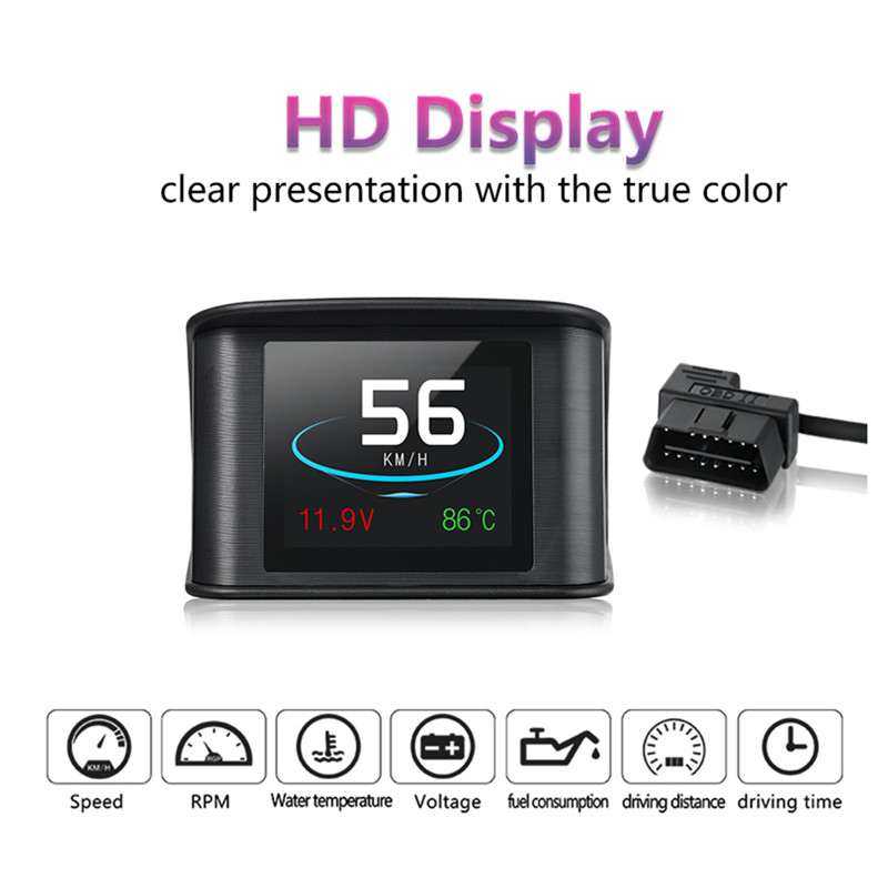 GEYIREN P10 Automobile On board Computer Car Digital OBD Driving Computer Display Speedometer Coolant Temperature Gauge 2018 in Head up Display from Automobiles Motorcycles
