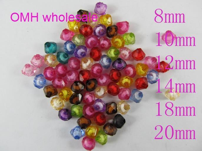 70pcs,6x8mm rouge pourpre perles de cristal  en vrac,