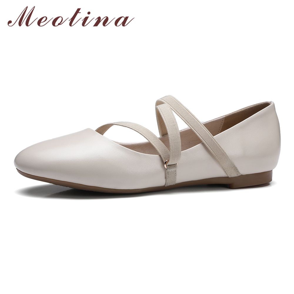 Meotina Designer Genuine Leather Shoes Women Flats Round Toe Ballet Flats Cross Strap Boat Shoes Ladies Real Leather Shoes Beige meotina women flat shoes ankle strap flats pointed toe ballet shoes two piece ladies flats beading causal shoes beige size 34 43