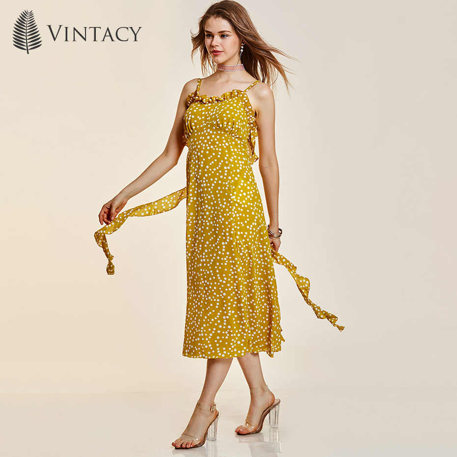 3733df14210 Женское платье с открытой спиной и рюшами в желтый горошек ретро пэчворк  Повседневное платье миди летнее