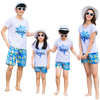 Summer Family Matching Set Mother Daughter Father Son Cotton Coconut Tree T shirt Starfish Holiday Seaside Pants Family Look
