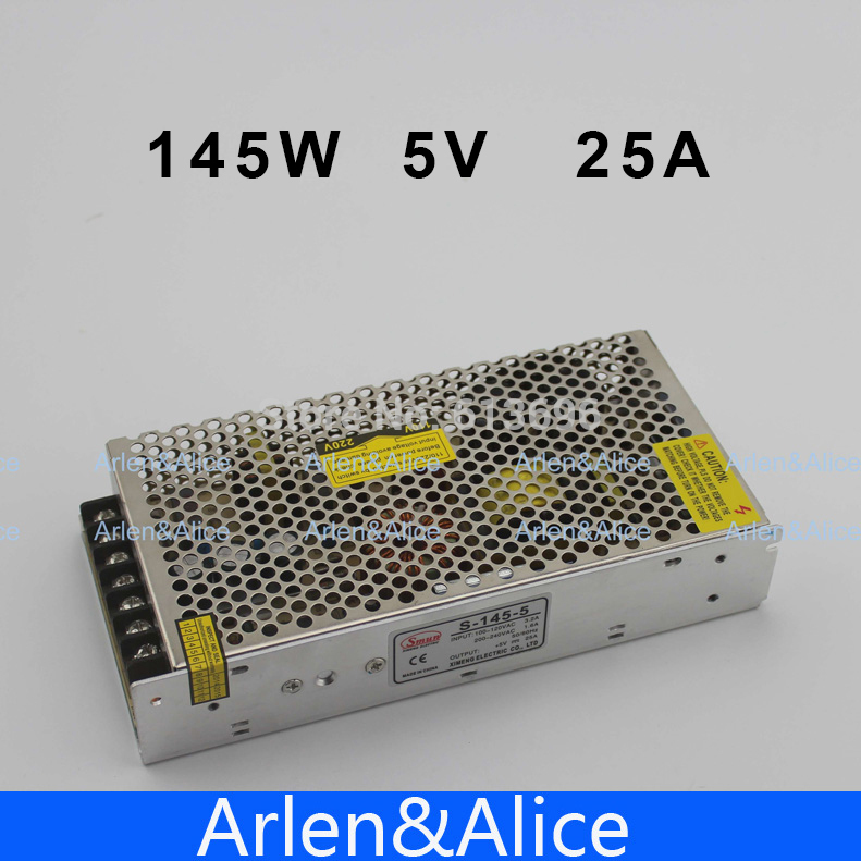 145W 5V 25A Single Output Switching power supply for LED Strip light AC to DC ac 85v 265v to 20 38v 600ma power supply driver adapter for led light lamp