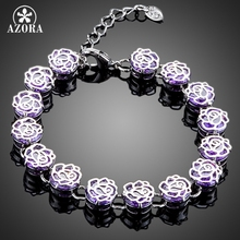 AZORA Fantaisie Élégant Bracelet avec 13 pcs Pourpre Cubique Zircone Bracelet De Mariage pour les Femmes TS0115