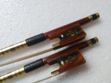 2 PC Quality Brazil Wood Round Bow stick Violin Bow 4 4 Red Horn Frog white