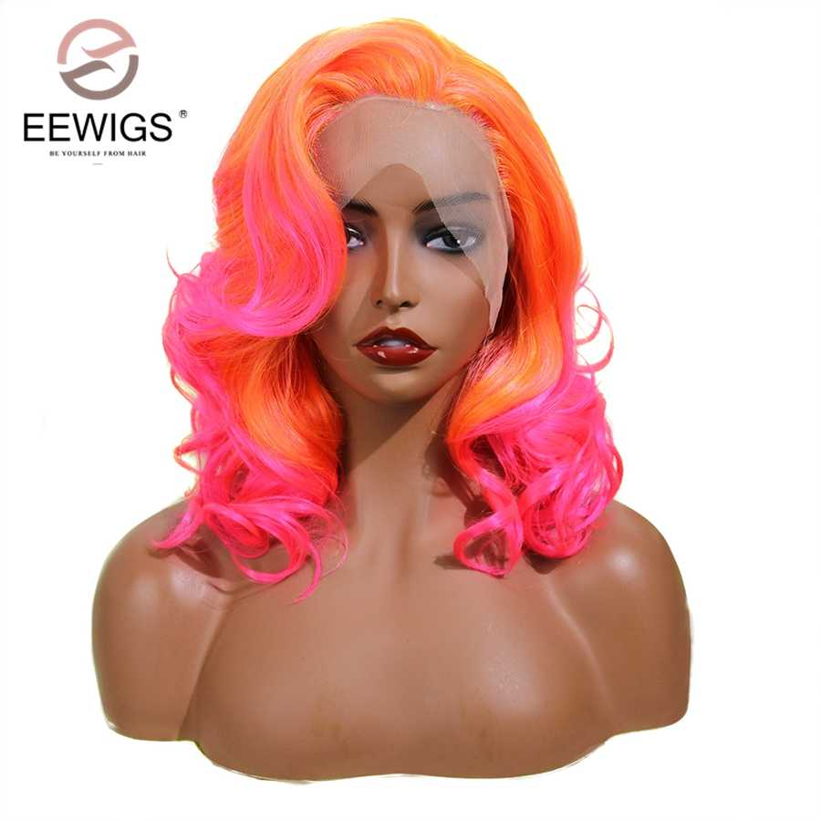 EEWIGS Orange Pink Synthetic Lace Front Wig With Side Parting 14 Inch Drag Queen Short Wavy Wig 13x4 Ombre Bob Wigs For Women