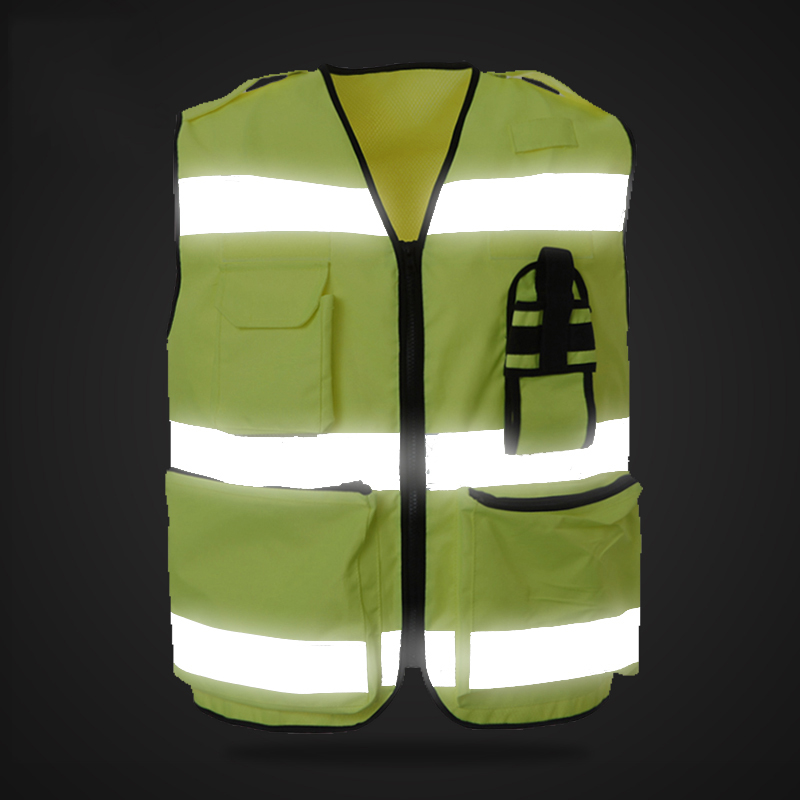 цена на High visibility police safety vest security reflective waistcoat with radio pocket