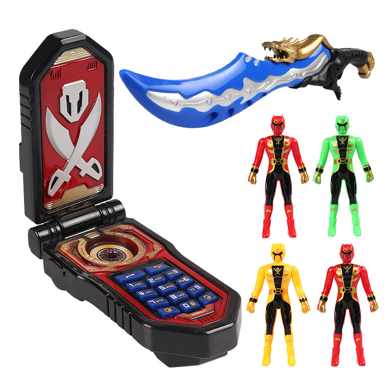 Cool Anime Power Pirates Action Figures Battle Building Deformation Phone Flashing Sound Music Sword Accessories Model Kid Gift