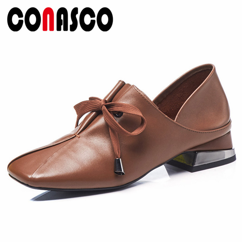 CONASCO Brand Women Genuine Leather Pumps Retro Corss-tied Soft Leather Casual Shoes Woman High Heels Square Toe Office Pumps