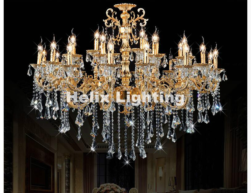 Newly European-style Classic Crystal Chandelier Light Golden Alloy Crystal  Lighting With 24 Arms D1200mm LED AC 100% Guaranteed