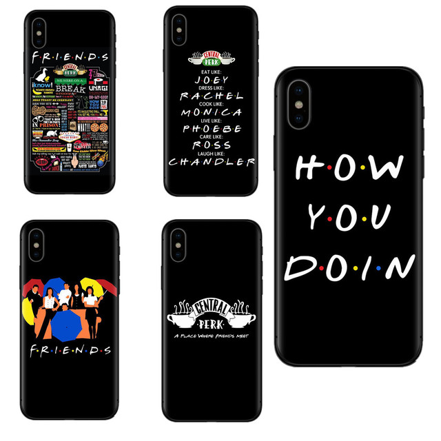 wholesale dealer 4070f d3adc US $0.92 39% OFF Central Perk Coffee friends tv show how you doin Black  silicone Phone Case Cover For iPhone 5 6 7 8 Plus S SE MAX XR XS X-in ...