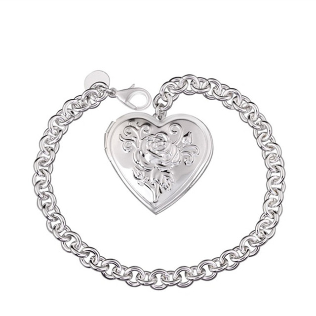 Beautiful flowers retro romantic heart shaped frame silver plated ...