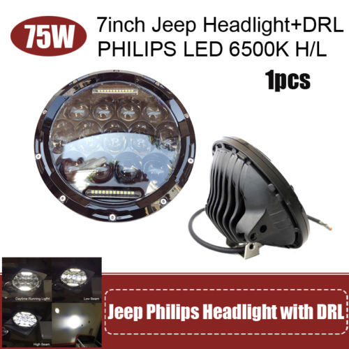 """Sales Promotion 7 Inch 75W LED Projector Headlights For Harley Motorcycle Wrangler JK TJ  H4 H13 DRL Hi / Low Beam 7"""" Headlight"""