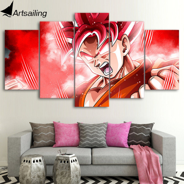5 piece canvas art HD print Goku super saiyan anime dragon ball ...