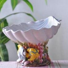 ceramic shell fish fruit plate Candy Storage dish home decor crafts room wedding decoration handicraft porcelain figurine