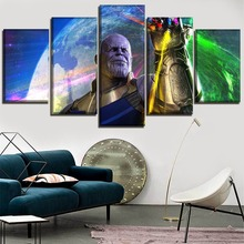 5 Pieces Wall Art Painting Home Decor Canvas Print Josh Brolin Thanos Pictures Movie Avengers Infinity War 3 Poster Frame