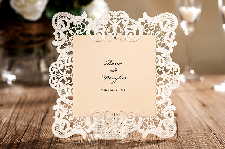 50pcs Lot High Quality 176 176mm White Baroque Style Invitation Cards Celebration Party Wedding Favor Decor
