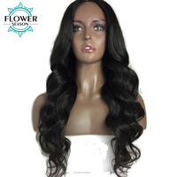 FlowerSeason Pre Plucked Body Wave Glueless Full Lace Human Hair Wigs With Baby Hair Peruvian Remy Hair Natural Hair Color