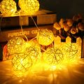 Multicolor 1.8m Fairy Light 0.3W 10 Rattans Wicker Balls LED String Lights Battery Operated Holiday Party Decor Waterproof IP44