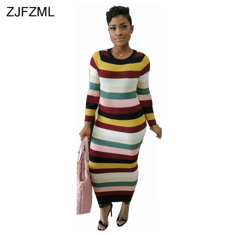 ZJFZML Autumn Winter Knitting Dress 2018 Women Long Sleeve Striped Bodycon Dress Fashion O-Neck Ribbed Long Maxi Sweater Dress