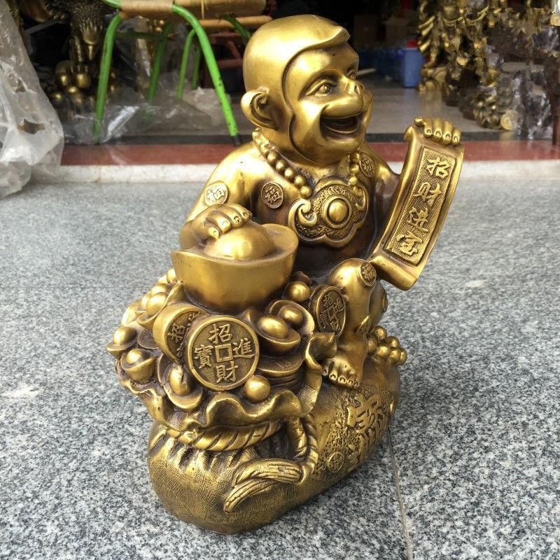 Noël chinois très belle laiton singe fortune artisanat décorations Statue nouvel an - 4