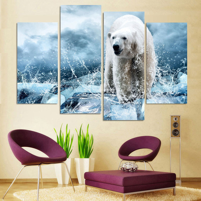 4 Pieces Iceberg Snow Leopard Canvas Print Canvas Painting Large Hd