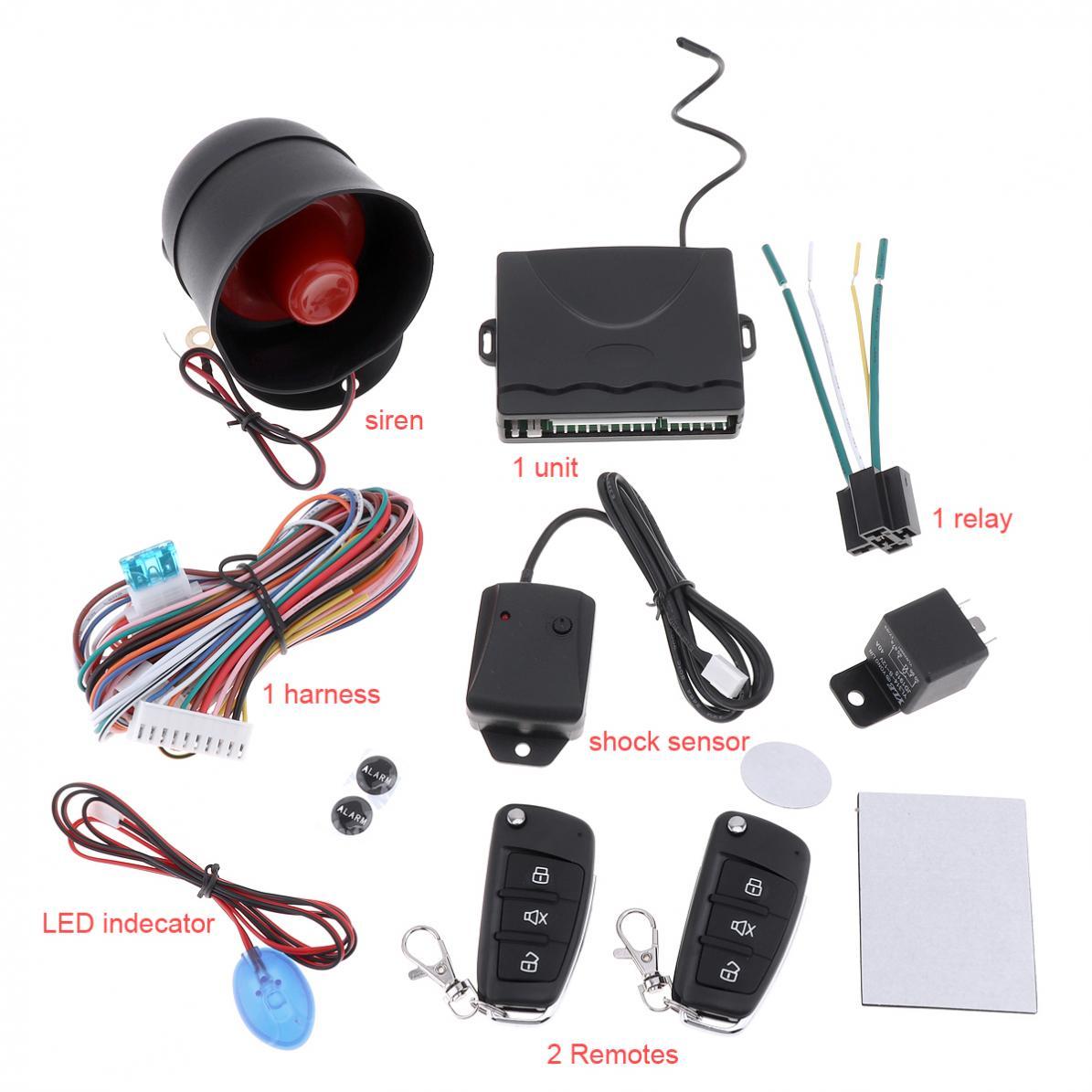 Système d'alarme de voiture automatique universel 12 V Kit Central à distance système de sécurité d'entrée sans clé avec capteur de sirène de télécommande