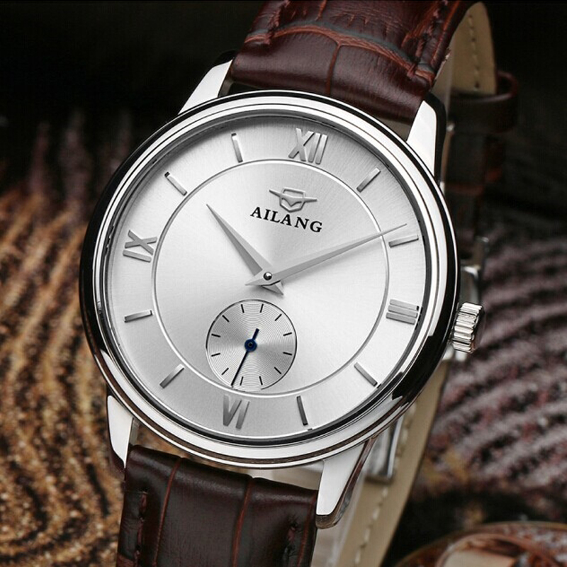 AILANG top brand watches luxury automatic men Relogio waterproof leather watch with ultra-thin simple fashion hotel ultra luxury 2 3 5 modes german motor watch winder white color wooden black pu leater inside automatic watch winder