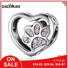 DALARAN Pink Cat's Footprints Charms 925 Sterling Silver Beads Fit DIY Bracelets Necklaces Never Fade For Women Jewelry Making